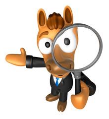 3D Horse mascot look through a magnifying glass. 3D Animal Chara