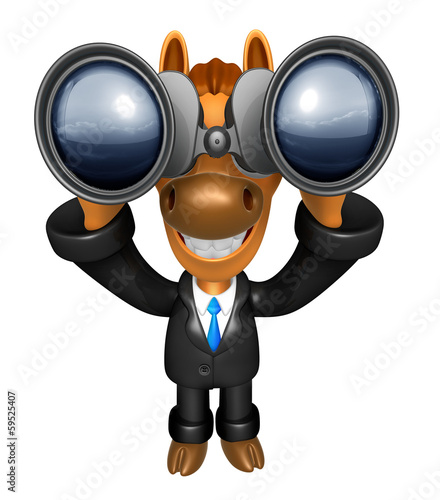 3D Horse mascot in binoculars watching. 3D Animal Character Desi