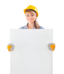 female worker holding white plackard isolated on white backgroun