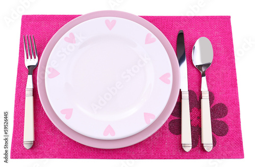 Set of utensil for dinner, isolated on white