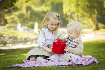 Little Girl Gives Her Baby Brother A Gift at Park.