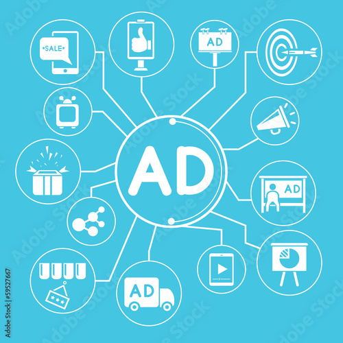 advertising info graphic, blue theme