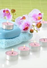 Wellness Orchidee Rosa Kerzen Grün
