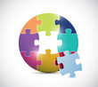 colorful circle puzzle illustration design