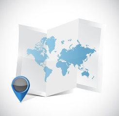 tri-fold world map and pointer illustration design