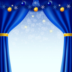 Happy New Year background with blue curtains