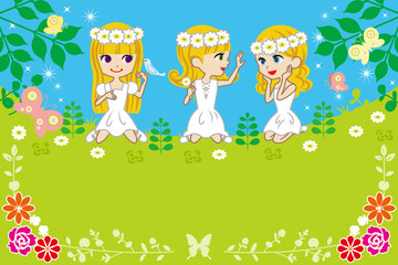 Three little girls in spring nature