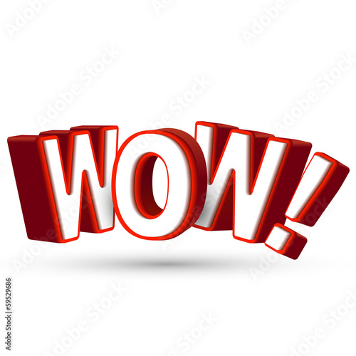 The word Wow in big red 3D letters to show surprise and astonish