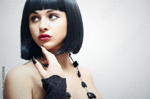 Retro Beautiful Brunette Girl. Healthy Black Hair.bob Haircut