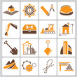 construction management icons, orange color theme