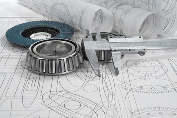 roller bearings, gauge, grinding disc  and drawings