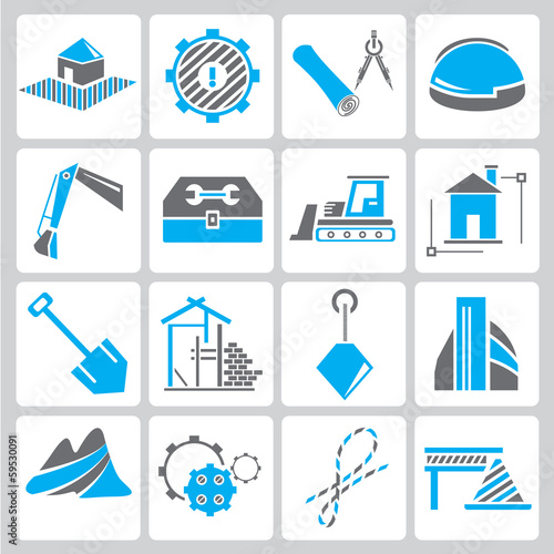 construction icons, blue theme