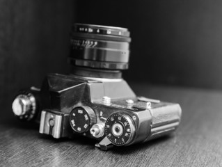 Vintage camera, black and white