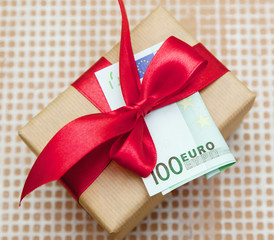 gift box with  euro banknote
