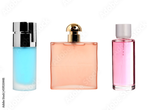 Glass perfume bottles isolated on white