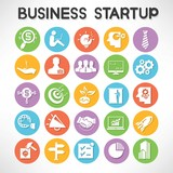start up business buttons set