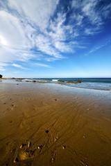 footstep in lanzarote    cloud beach    coastline and summer