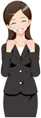 女性 スーツ 笑顔 応援