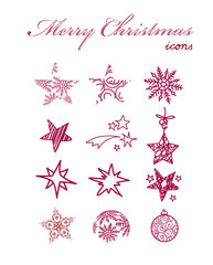 Set of hand-drawn christmas icon elements
