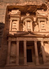 City of Petra and picture of Treasury which is half in shadow ha