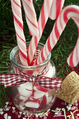 Bunch of red and white striped candy canes in glass jar on chris