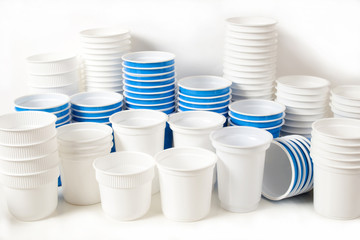 Empty white and blue food glasses
