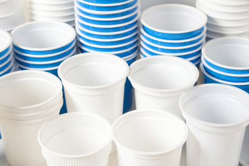 Empty white and blue food glasses background