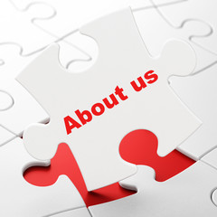 Marketing concept: About Us on puzzle background