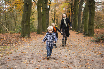 Boy and family in woods or forest