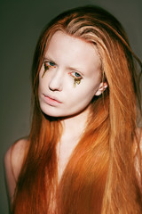 Bodyart. Fanciful Red Hair Woman with Creative Stagy Art Make-up