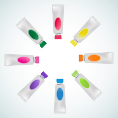 set of tube paint colorful
