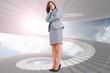 Composite image of focused businesswoman