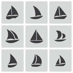 Vector black sailboat icons set
