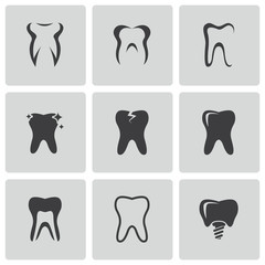 Vector black teeth icons set