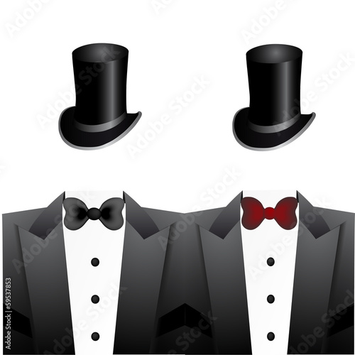 Set of tuxedos and hats