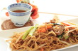 Chinese fried noodles and tea