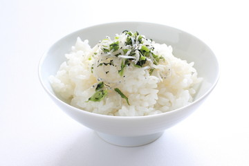 Japanese food, furikake small sardines on rice