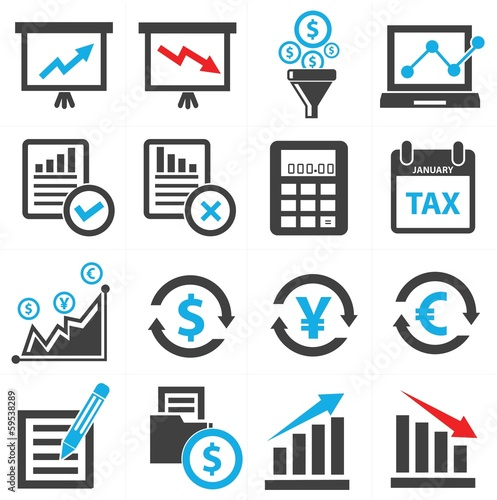 Economics and Finance concept icons,vector