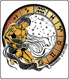 Aquarius and zodiac sign. Horoscope circle.Vector Illustration