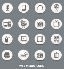 Web media icons,White buttons version,vector