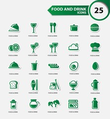 Food and Restaurant icons set,Green version,vector