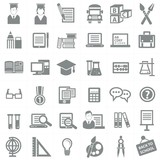Education icon set,Gray version,vector