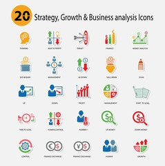 Strategy,Growth & Business analysis Icons