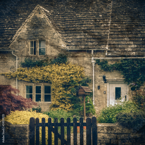 Typical Cotswolds garden in Bibury, vintage coaster