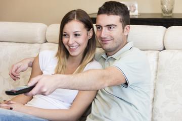 happy couple tv home