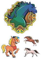 Set of horses, symbol of the year, vector