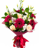 Bouquet of roses, gerberas and orchids