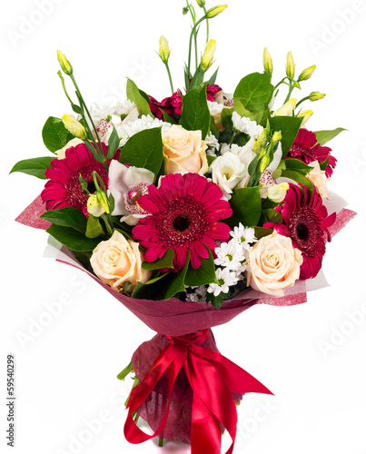 Foto op Aluminium Gerbera Bouquet of roses, gerberas and orchids