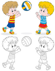 boys play volleyball