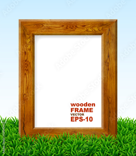 Oak frame with green grass.
